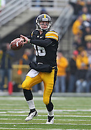 November 05, 2011: Iowa Hawkeyes quarterback James Vandenberg (16) looks to pass during the second quarter of the NCAA football game between the Michigan Wolverines and the Iowa Hawkeyes at Kinnick Stadium in Iowa City, Iowa on Saturday, November 5, 2011. Iowa defeated Michigan 24-16.