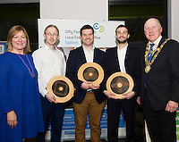 Repro FREE: Breda Fox LEO Galway, Dermot Clancy, OneTouch Telecare, Winner Best Startup Business Galway, IBYE 2016 Paul Killoran, ExOrdo, Galway's Best Young Entrepreneur, IBYE 2016  and Moshe Zilversmit, Signum Surgical, Winner Best New Idea Galway, IBYE 2016 with Cllr Noel Larkin Mayor of Galway City Awarded by Local Enterprise Office Galway with at the Portershed. <br /> Photo:Andrew Downes, xposure
