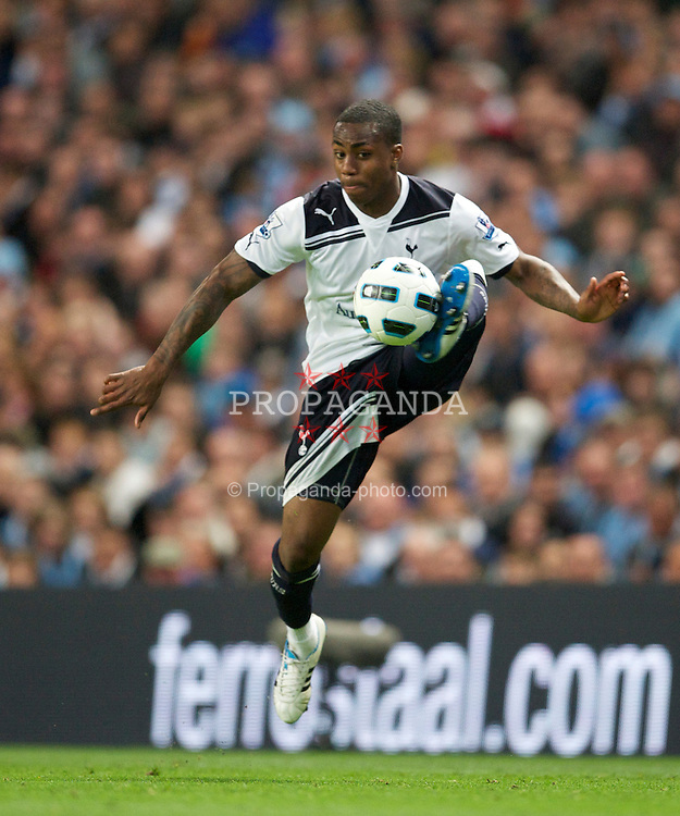 MANCHESTER, ENGLAND - Monday, May 10, 2011: Tottenham Hotspur's Danny Rose in action against Manchester City during the Premiership match at the City of Manchester Stadium. (Photo by David Rawcliffe/Propaganda)