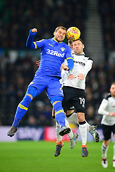 PIERRE MICHEL LASOGGA LEEDS UNITED HOLDS OF DERBY ANDREAS WEIMANN,  DERBY COUNTY, Derby County v Leeds United, Championship League Pride Park Tuesday 21st February 2018, Score 2-2, :Photo Mike Capps