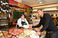 Joyce's Cheesemonger Pauline Deveaney and Connacht Rugby's Gavin Duffy,  at the opening of Horgan's Delicatessen Suppliers' first ever Food Emporium at Joyce's Supermarket, Knocknacarra, Co Galway.  The initiative marks Horgan's first Food Emporium Concept Store and cements a longstanding relationship with Joyce's Supermarket Group..Photo:Andrew Downes