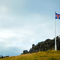 Flag near the place of the original Icelandic parlament