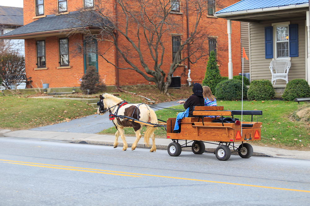 Intercourse, PA, USA - December 1, 2014: Two women ride in a cart pulled by a pony on the Old Philadelphia Pike, the main street of the Lancaster County village.