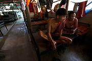 Ex-Karen soldiers who were injured during clashes with the Burmese army now living in Mae La refugee camp in Thailand.