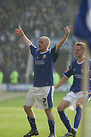 Photo: Pete Lorence.<br />Leicester City v Southampton. Coca Cola Championship. 14/10/2006.<br />Iain Hume celebrates with Richard Stearman, after taking Leicester into a 2-1 lead.
