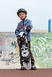 6 year old boy at South Shields skateboard park UK