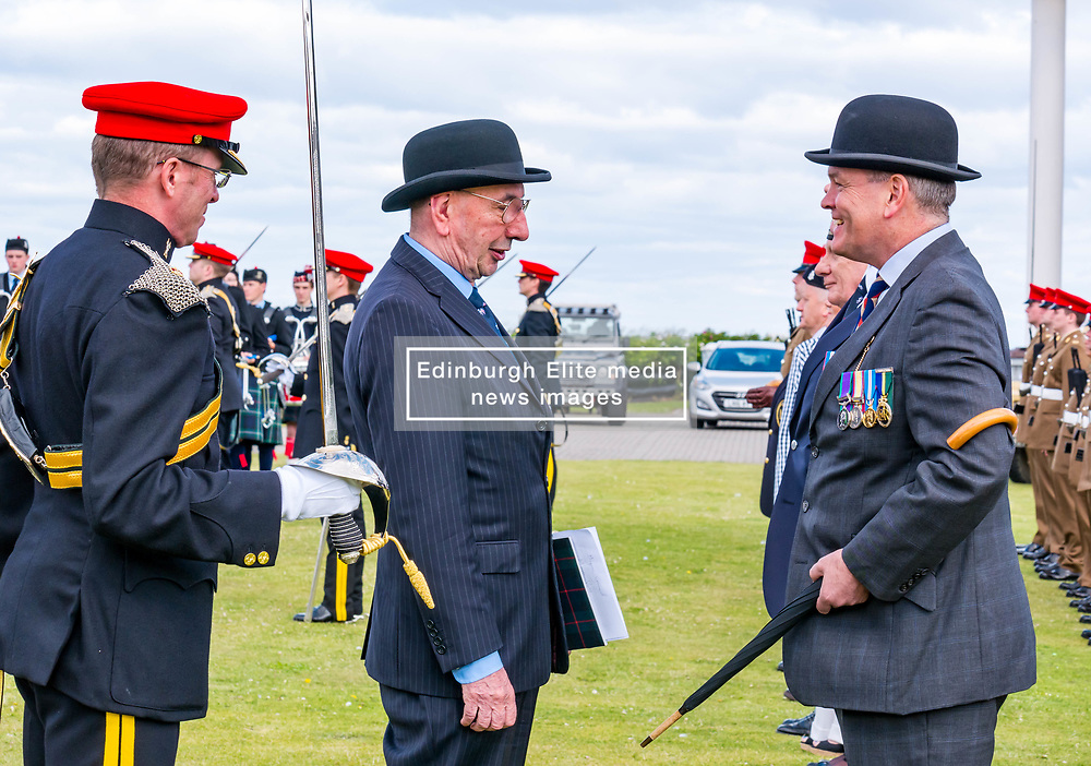 Pictured: Yeomanry receive Freedom of East Lothian, Dunbar, East Lothian, Scotland, United Kingdom, 06 July 2019. The historic Lothians and Border regiment is granted Freedom of East Lothian by Councillor Jim Goodfellow, East Lothian Council's Armed Forces Champion, which is accepted by Major S J Vine. The Yeomanry's links with the county date back to 1797. Councillor Goodfellow talks to a member of the British Legion.<br /> Sally Anderson | EdinburghElitemedia.co.uk
