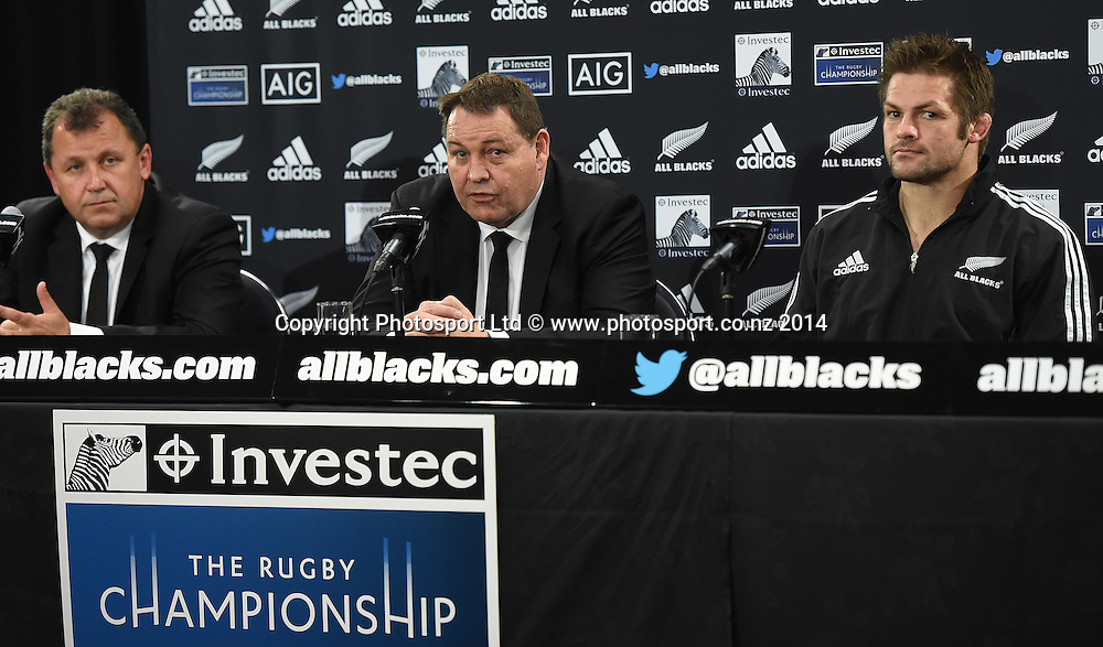 Ian Foster, Steve Hansen and Richie McCaw at the post match press conference. New Zealand All Blacks versus South Africa Springboks. The Rugby Championship. Rugby Union Test Match. Wellington. New Zealand. Saturday 13 September 2014. Photo: Andrew Cornaga/www.Photosport.co.nz