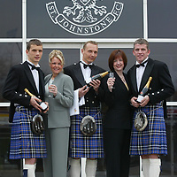 Preparations for the innaugural St Johnstone FC Ladies evening, where players will serve the ladies champagne as they arrive, pictured from left, Kevin Cuthbert, Susan Weir, Sales Executive, Tommy Lovenkrands, Susan Fenton, Manager of Carbone and Jim Weir...<br />