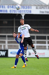 Bristol Rovers' Tom Parkes looses out to a header - Photo mandatory by-line: Dougie Allward/JMP - Tel: Mobile: 07966 386802 16/07/2013 - SPORT - FOOTBALL - Bristol -  Hereford United V Bristol Rovers - Pre Season Friendly