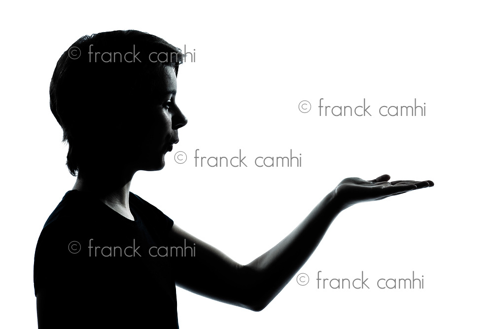 one caucasian young teenager silhouette boy or girl empty hands open portrait in studio cut out isolated on white background