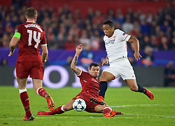 SEVILLE, SPAIN - Tuesday, November 21, 2017: Liverpool's Dejan Lovren during the UEFA Champions League Group E match between Sevilla FC and Liverpool FC at the Estadio Ramón Sánchez Pizjuán. (Pic by David Rawcliffe/Propaganda)