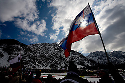 Slovenian flag at Flying Hill Team in 3rd day of 32nd World Cup Competition of FIS World Cup Ski Jumping Final in Planica, Slovenia, on March 21, 2009. (Photo by Vid Ponikvar / Sportida)