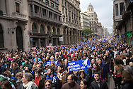 "Huge protest in Barcelona to demand the government allow more refugees into Spain and Catalonia. The demonstration it's supposed to be the higher in Europe till the moment. Nearly 500.000 persons quoted by local media, 160.000 quoted by the police. Marchers have carried placards and banners with messages in catalan as ""we want to host refugees"", ""no more excuses"", open the borders"". Refugees have participated in the march carrying placards with ""we don't want to be used"", ""more solidarity"". The protest has ended into the sea, with a performance carried by the NGO Proactiva Open Arms, where a group of few people have been rescued from the sea. Between the organizers also there were refugees. Since September 2015 Spain has accepted 1.100 refugees although promised to take in up to 17,337 in these two years. 18th February, Barcelona."