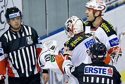 Rene Swette (EC KAC, #30) and referee during ice-hockey match between HDD Tilia Olimpija and EC KAC in 12th Round of EBEL league, on October 17, 2010 at Hala Tivoli, Ljubljana, Slovenia. (Photo By Matic Klansek Velej / Sportida.com)