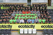 Forest Green Rovers 1st team squad photo 2018/19 with the FGR Ambassadors during the 2018/19 official team photocall for Forest Green Rovers at the New Lawn, Forest Green, United Kingdom on 30 July 2018. Picture by Shane Healey.