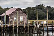 Shrimp boathouse along Shem Creek in Mount Pleasant, South Carolina.