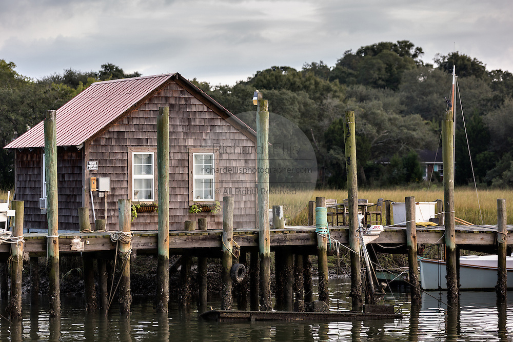 Shrimp boathouse along Shem Creek in Mount Pleasant, South Carolina.