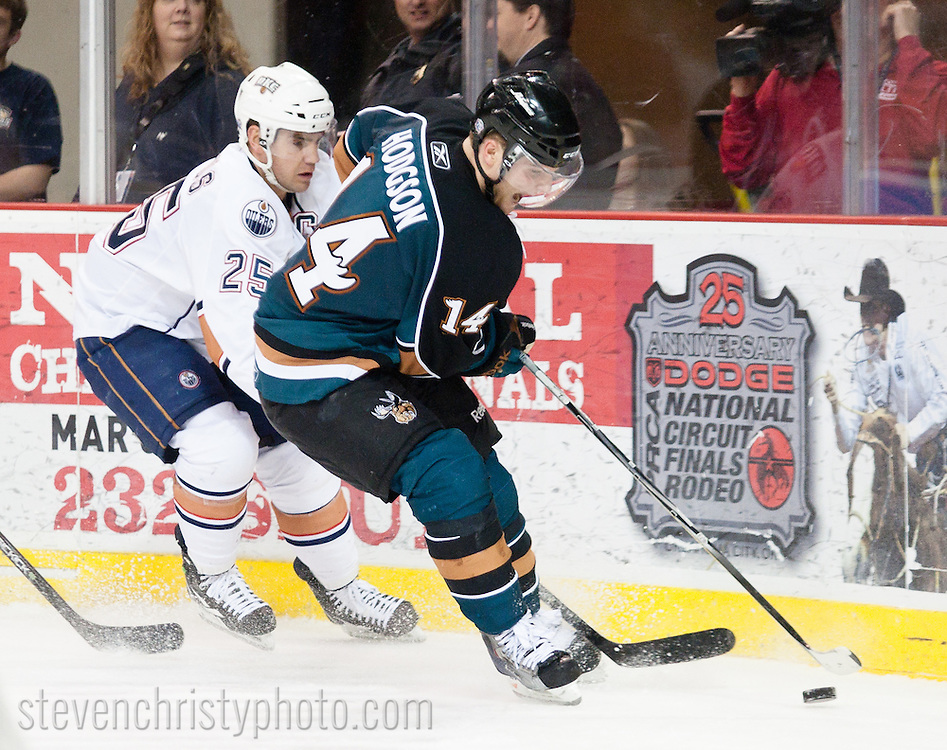 March 8, 2011: The Oklahoma City Barons play the Manitoba Moose in an American Hockey League game at the Cox Convention Center in Oklahoma City.