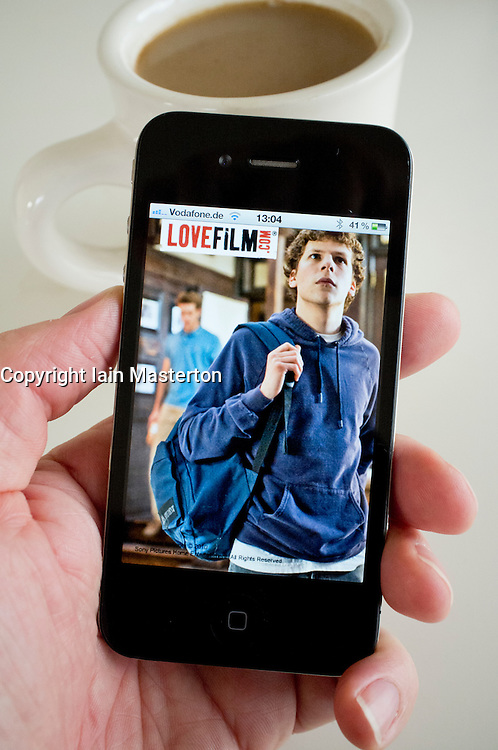 Detail from Lovefilm.com Movie streaming website using application on an iPhone 4g smart phone