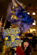 Remain protesters (pro-EU) gather outside the UK parliament Westminster before the result of MPs' Meaningfull Brexit vote which eventually brought about a massive defeat for Prime Minister Theresa May's Conservative government, on 15th January 2019, in Westminster, London, England.