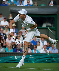 LONDON, ENGLAND - Monday, June 25, 2012: Tomas Berdych (CZE) during the Gentleman's Singles 1st Round match on the opening day of the Wimbledon Lawn Tennis Championships at the All England Lawn Tennis and Croquet Club. (Pic by David Rawcliffe/Propaganda)