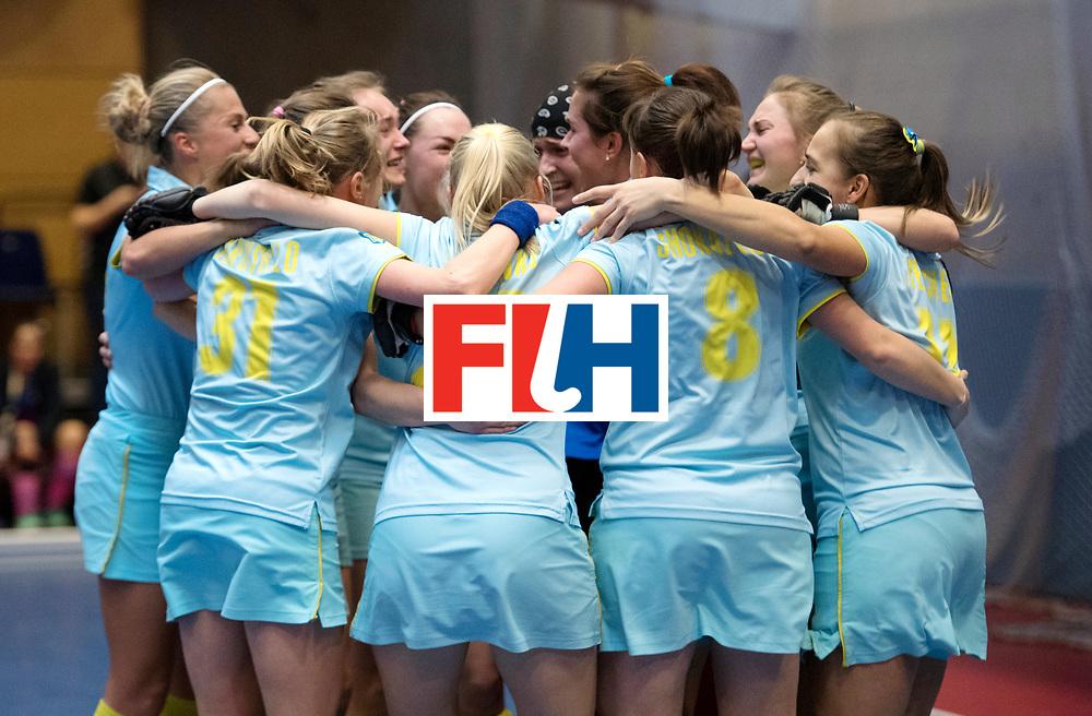 BERLIN - Indoor Hockey World Cup<br /> Women: Ukraine - Czech Republic<br /> foto: Ukraine celebrates.<br /> WORLDSPORTPICS COPYRIGHT FRANK UIJLENBROEK