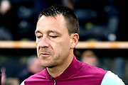 Aston Villa defender John Terry (26) takes the field prior to  the EFL Sky Bet Championship match between Hull City and Aston Villa at the KCOM Stadium, Kingston upon Hull, England on 31 March 2018. Picture by Mick Atkins.