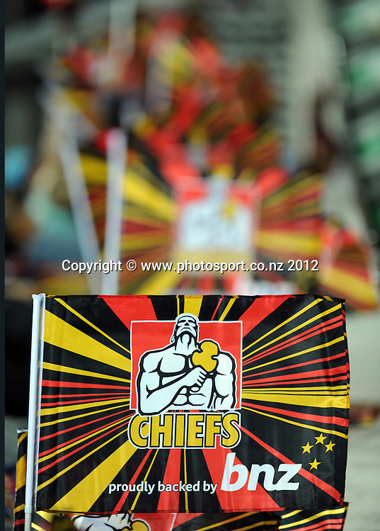 Chiefs flags during the 2012 Super Rugby season, Chiefs v Highlanders match at Waikato Stadium, New Zealand. Saturday 25 February 2012. Photo: Andrew Cornaga/Photosport.co.nz