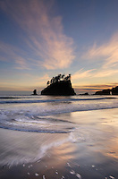 Sunset on  Second Beach, Olympic National Park