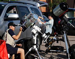 Astrocon attendees setup the big guns to shoot the Great American Eclipse on August 21, 2017, at  Casper Collage  Wyoming. The total eclipse lasted 2 min and 30 sec as this was the first eclipse to cross America from coast to coast in 100yrs. PHOTO BY Gene Blevins/LA DailyNews/SCNG/ZumaPress. (Credit Image: © Gene Blevins via ZUMA Wire)