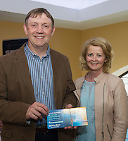 22/07/2015 repro free Ray Dolan Ulster Bank Gort and Helena Brennan Athenryat the Ulster Bank sponsored evening at The Galway International Arts Festival's production of Frank McGuinnesses'  The Match Box, starring Cathy Belton At the Town Hall Theatre. Photo:Andrew Downes.