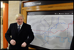 The Mayor of London Boris Johnson announces the new 24 hour Tube service at the weekend at Piccadilly Circus tube station, London, United Kingdom. Thursday, 21st November 2013. Picture by Andrew Parsons / i-Images