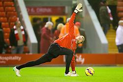 Liverpool's Simon Mignolet warms up before the match - Photo mandatory by-line: Matt McNulty/JMP - Mobile: 07966 386802 - 10/02/2015 - SPORT - Football - Liverpool - Anfield - Liverpool v Tottenham Hotspur - Barclays Premier League