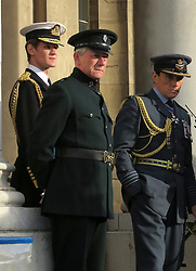 © Licensed to London News Pictures. 25/10/2015. London, UK. MATT SMITH (pictured left) during filming of the new Netflix series, 'The Crown' taking place at the Old Royal Naval College in Greenwich, London, with Matt Smith and Claire Foy . Photo credit : Graham Long/LNP