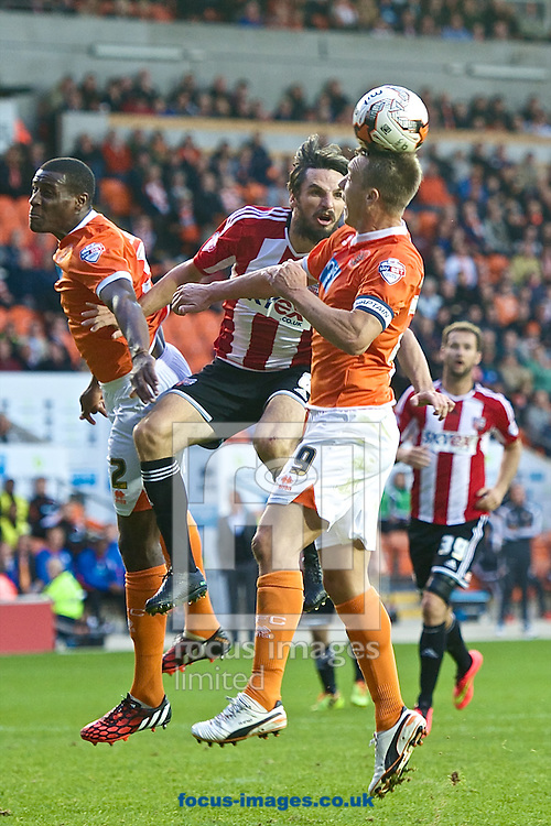 Anthony McMahon of Blackpool heads clear under pressure from Jonathan Douglas of Brentford during the Sky Bet Championship match at Bloomfield Road, Blackpool<br /> Picture by Ian Wadkins/Focus Images Ltd +44 7877 568959<br /> 19/08/2014