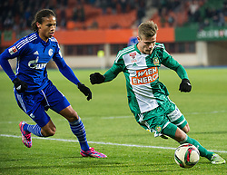 24.01.2015, Ernst Happel Stadion, Wien, AUT, FS Vorbereitung, Fußball Testspiel, SK Rapid Wien vs FC Schalke 04, im Bild Leroy Sane (FC Schalke 04) und Dominik Starkl, (SK Rapid Wien, #34) // during a international football frindly match between SK Rapid Vienna and FC Schalke 04 at the Ernst Happel Stadium, Vienna, Austria on 2015/01/24. EXPA Pictures © 2015, PhotoCredit: EXPA/ Michael Gruber