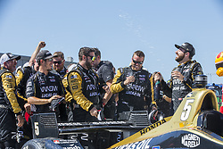 July 8, 2018 - Newton, Iowa, United States of America - JAMES HINCHCLIFFE (5) of Canada wins the Iowa Corn 300 at Iowa Speedway in Newton, Iowa. (Credit Image: © Justin R. Noe Asp Inc/ASP via ZUMA Wire)