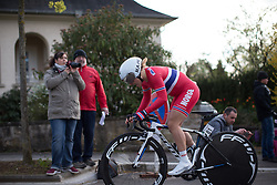 Emilie Moberg (NOR) of Team Norway digs deep at the top of the first climb of the 2.8km time trial prologue of Elsy Jacobs - a stage race in Luxembourg in Luxembourg on April 29, 2016 in Luxembourg.