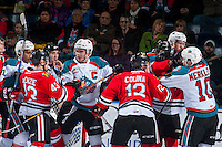 KELOWNA, CANADA - JANUARY 28: Rodney Southam #17 of the Kelowna Rockets gets in the face of Skyler McKenzie #43 of the Portland Winterhawks on January 28, 2017 at Prospera Place in Kelowna, British Columbia, Canada.  (Photo by Marissa Baecker/Shoot the Breeze)  *** Local Caption ***