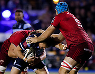 Gareth Anscombe of Cardiff Blues under pressure from Tadhg Beirne of Munster<br /> <br /> Photographer Simon King/Replay Images<br /> <br /> Guinness PRO14 Round 4 - Cardiff Blues v Munster - Friday 21st September 2018 - Cardiff Arms Park - Cardiff<br /> <br /> World Copyright © Replay Images . All rights reserved. info@replayimages.co.uk - http://replayimages.co.uk