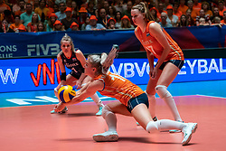 30-05-2019 NED: Volleyball Nations League Netherlands - Poland, Apeldoorn<br /> Marrit Jasper #18 of Netherlands, Nicole Oude Luttikhuis #17 of Netherlands