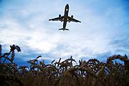 Airplane landing, Zurich, Switzerland.