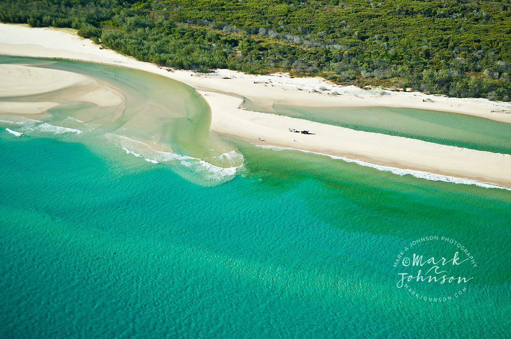 Aerial view of 4WD's and people at Yellow Patch, Moreton Island, Queensland, Australia