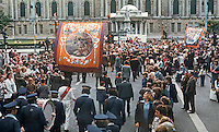Twelfth procession passing the City Hall, Belfast, N Ireland, on its way to The Field. 197607120331a<br />