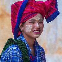 INLE LAKE , MYANMAR - SEP 07 : Portrait of Intha tribe woman in Inle lake Myanmar on September 07 2017  The Intha people live along the Inle lake shores and on the lake itself