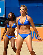 07 December 2006, Dancers go through their routine during the Vodacom Pro Beach Soccer Tour in Durban's Bay of Plenty on Thursday. The tournament which includes teams from South Africa, France England and current World Champions Brazil runs until Saturday. Picture: Shayne Robinson, PhotoWire Africa