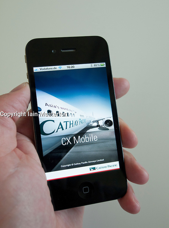 Cathay PAcific mobile app for booking flights and other services on an iPhone 4G smart phone