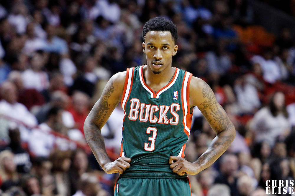 22 January 2012: Milwaukee Bucks point guard Brandon Jennings (3) rests during the Milwaukee Bucks 91-82 victory over the Miami Heat at the AmericanAirlines Arena, Miami, Florida, USA.
