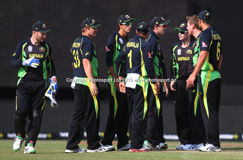 Australian team during the World T20, 17th Match, Super 10 Group 2: Australia v New Zealand at Dharamsala, Mar 18, 2016, Copyright photo: www.photosport.nz